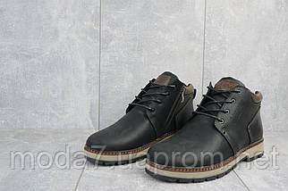 Мужские ботинки кожаные зимние черные-матовые Yuves 781, фото 3