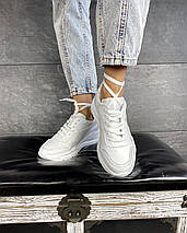Женские кроссовки кожаные весна/осень белые-серые Yuves 778, фото 3