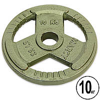 Блины (диски) стальные с тройным хватом окрашенные d-52мм MARCY TA-8026-10 10кг (сталь окрашенная, серый)