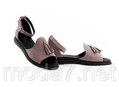 Женские босоножки замшевые летние розовые-черные Mkrafvt 0532 роз
