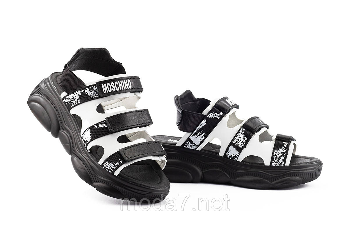 Женские босоножки кожаные летние черные Best Vak Moschino Л 67-01 Black