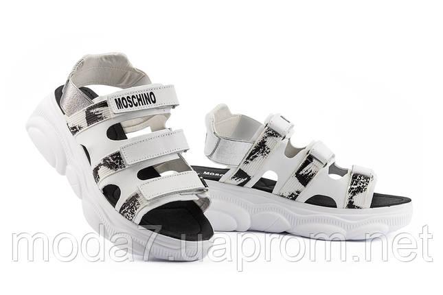Женские босоножки кожаные летние белые Best Vak Moschino Л 67-06 White, фото 2