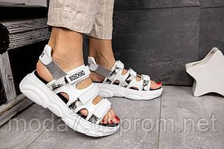 Женские босоножки кожаные летние белые Best Vak Moschino Л 67-06 White, фото 3