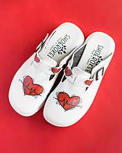 Обувь сабо на платформе с принтом HEART женские