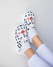Обувь сабо на платформе с принтом  LIFE  женские