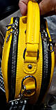 Жіночі клатчі Zara на 2 відділення на блискавці і з ручкою 22*17 см (пудра і жовтий), фото 3