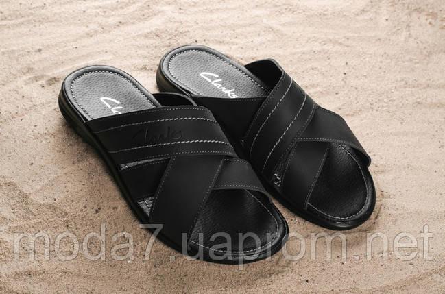 Мужские шлепанцы кожаные летние черные Yuves 59, фото 2