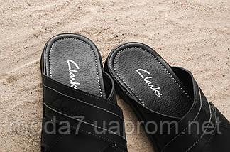 Мужские шлепанцы кожаные летние черные Yuves 59, фото 3