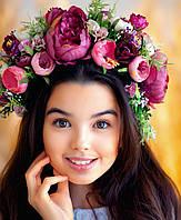 Вінок з квітів для виступів  Ексклюзив (сливовий)