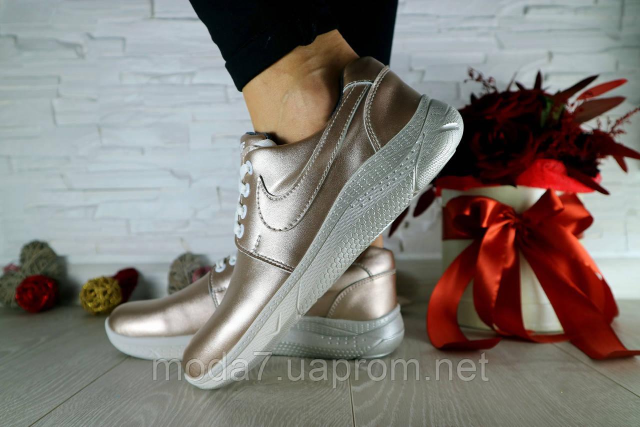 Женские кроссовки кожаные весна/осень серебристые CrosSAV 56