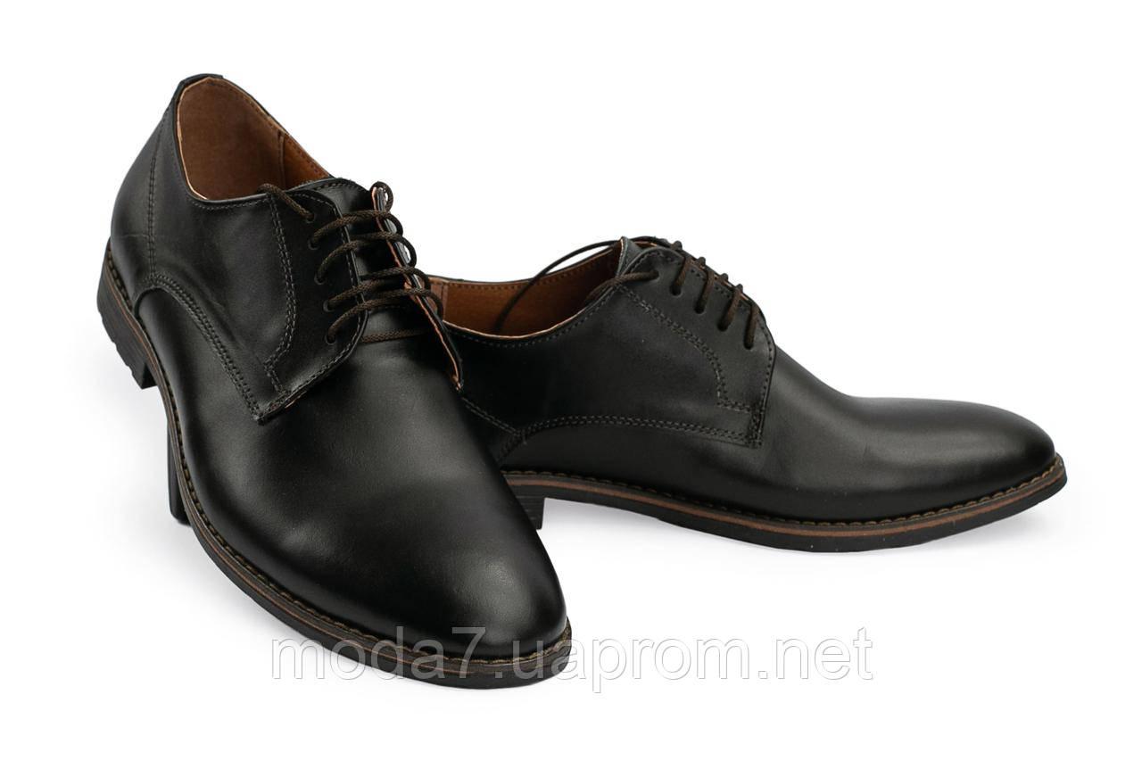 Мужские туфли кожаные весна/осень черные Vankristi 280