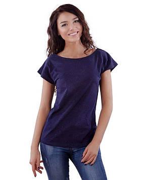 Темно-синяя летняя футболка женская (в размерах XS-2XL)