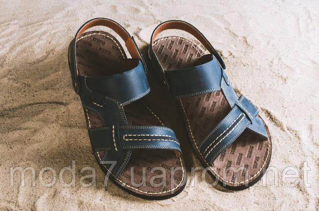 Мужские сандали кожаные летние синие Bonis Original 25, фото 2