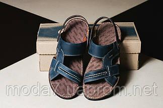 Мужские сандали кожаные летние синие Bonis Original 25, фото 3