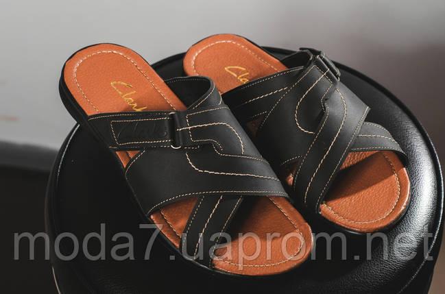 Мужские шлепанцы кожаные летние синие Yuves F22, фото 2