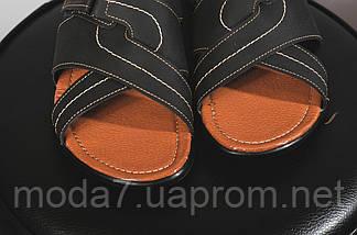 Мужские шлепанцы кожаные летние синие Yuves F22, фото 3