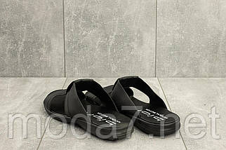 Мужские шлепанцы кожаные летние черные Yavgor ЧК, фото 3