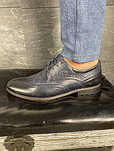 Мужские туфли кожаные весна/осень синие Vivaro 611 (Oxford), фото 2