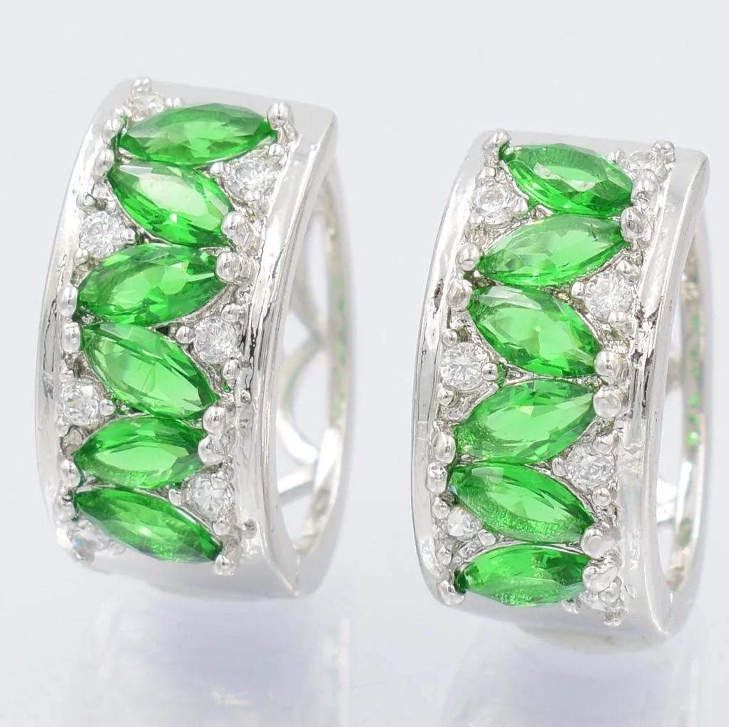 XUPING Серьги Родий Колечки с зелеными и белыми цирконами Диаметр 1,6см