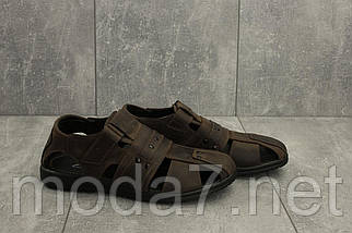 Мужские сандали кожаные летние коричневые Yuves 155, фото 3