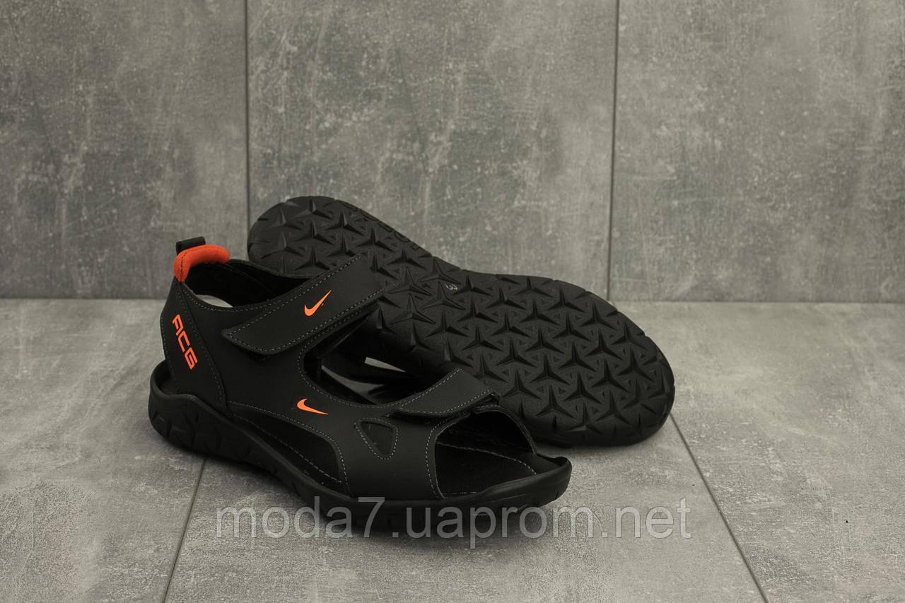 Мужские сандали кожаные летние черные Yuves 311