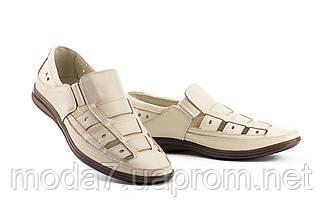 Мужские сандали кожаные летние бежевые Vankristi 1161, фото 3