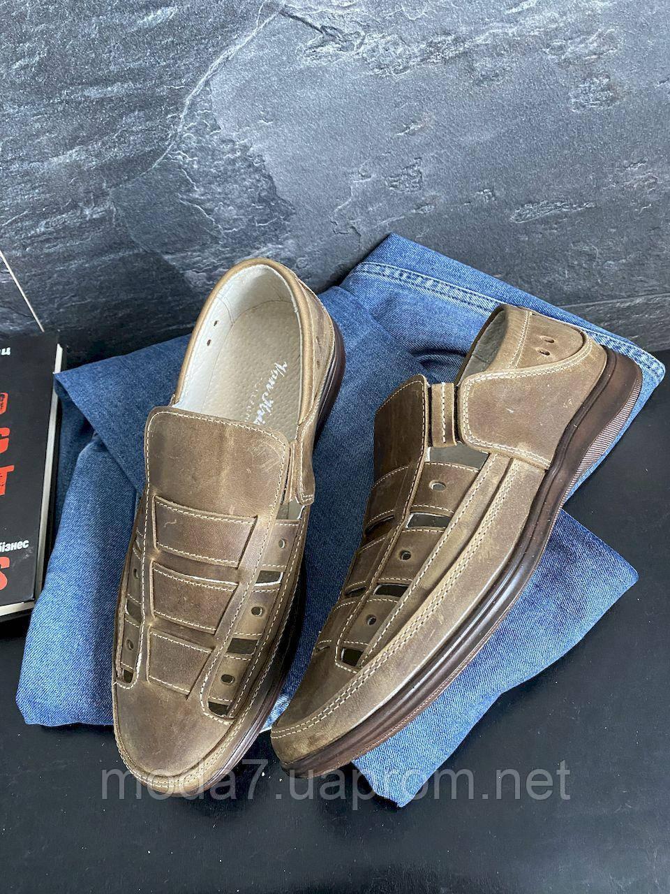 Мужские сандали кожаные летние оливковые Vankristi 1161