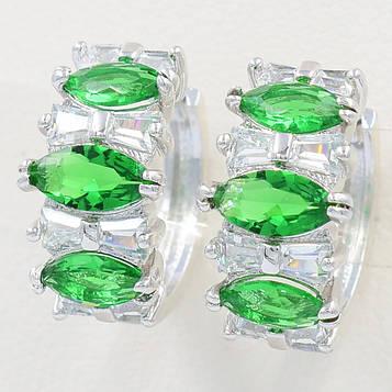 XUPING Серьги Родий колечки с тремя зелеными цирконами Диаметр 1,4см