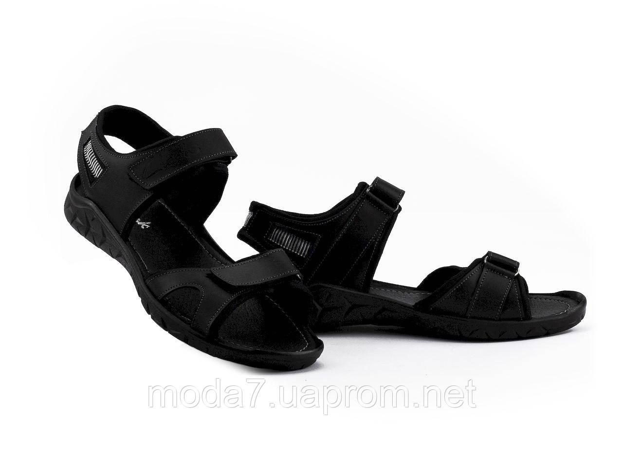 Мужские сандали кожаные летние черные Yuves Tracking 310 ч
