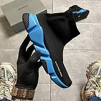Женские кроссовки Balenciaga Speed Trainer Black Blue, кроссовки баленсиага спид тренер, баленсиага носки
