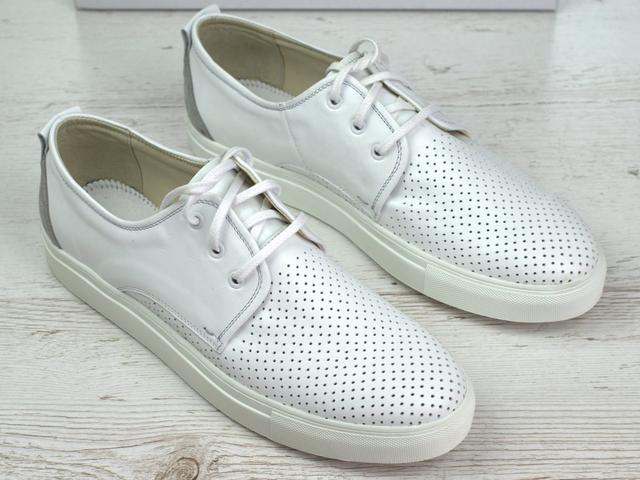 Кроссовки белые мужские слипоны кожаные с перфорацией летняя обувь комфорт Rosso Avangard Slip White