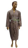 Вафельный мужской халат Nusa NS-12680 бежевый (премиум класс)