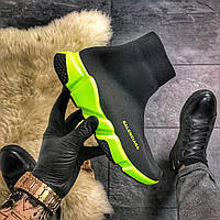 Мужские кроссовки Balenciaga Speed Trainer Black Green, кроссовки баленсиага спид тренер, баленсиага носки