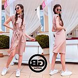 Платье-рубашка на застежках кнопки, накладные карманы и поясок затяжка, 3 цвета р.S, M, L код 2-2243G, фото 4