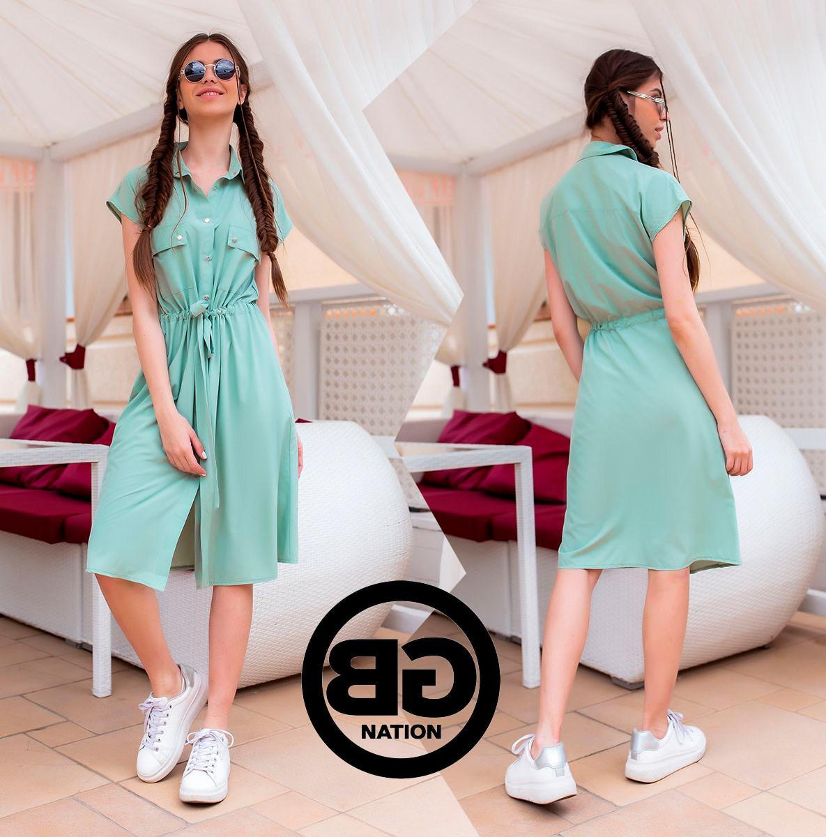 Платье-рубашка на застежках кнопки, накладные карманы и поясок затяжка, 3 цвета р.S, M, L код 2-2243G