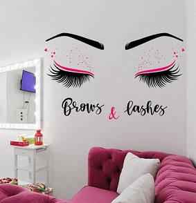 Наклейка на стену Brows and Lashes 2 (брови и реснички, наклейка в кабинет красоты)