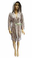 Элитный велюровый халат с кружевом Nusa NS-0415 бежевый