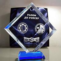 """3D логотип в кришталевому кристалі """"Ромб"""" 14см - Бізнес подарунок партнерам, колегам, співробітникам"""