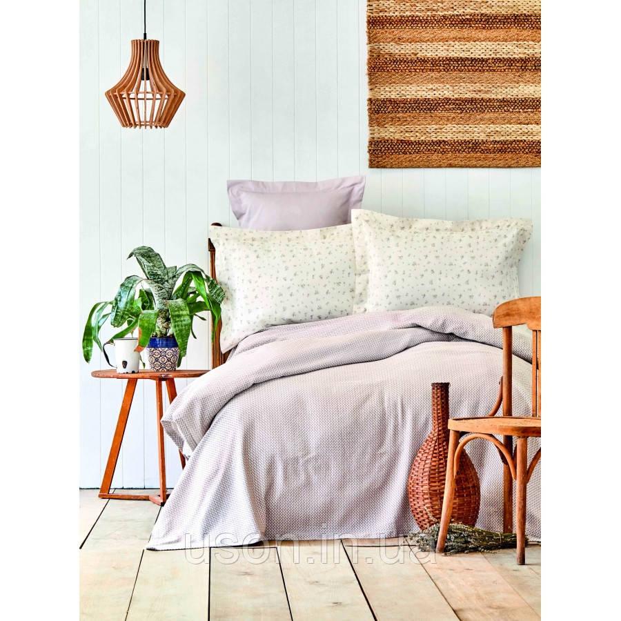 Комплект постельного белья с покрывалом Pike jacquard 200*240 TM Karaca Home Fois  lila