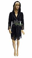 Элитный велюровый халат с кружевом Nusa NS-0415 жгуче черный