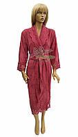 Элитный бамбуковый халат с кружевом Nusa NS-3875-2 бордо