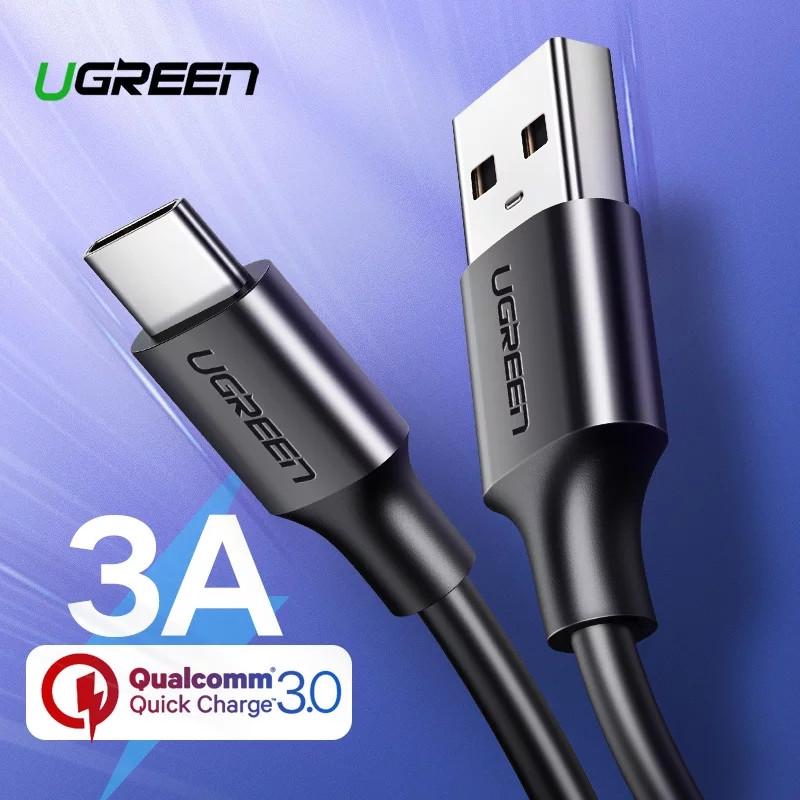 Оригинальный кабель UGREEN US287 Type-C Fast Quick Charge 3A быстрая зарядка 3A Black 60116