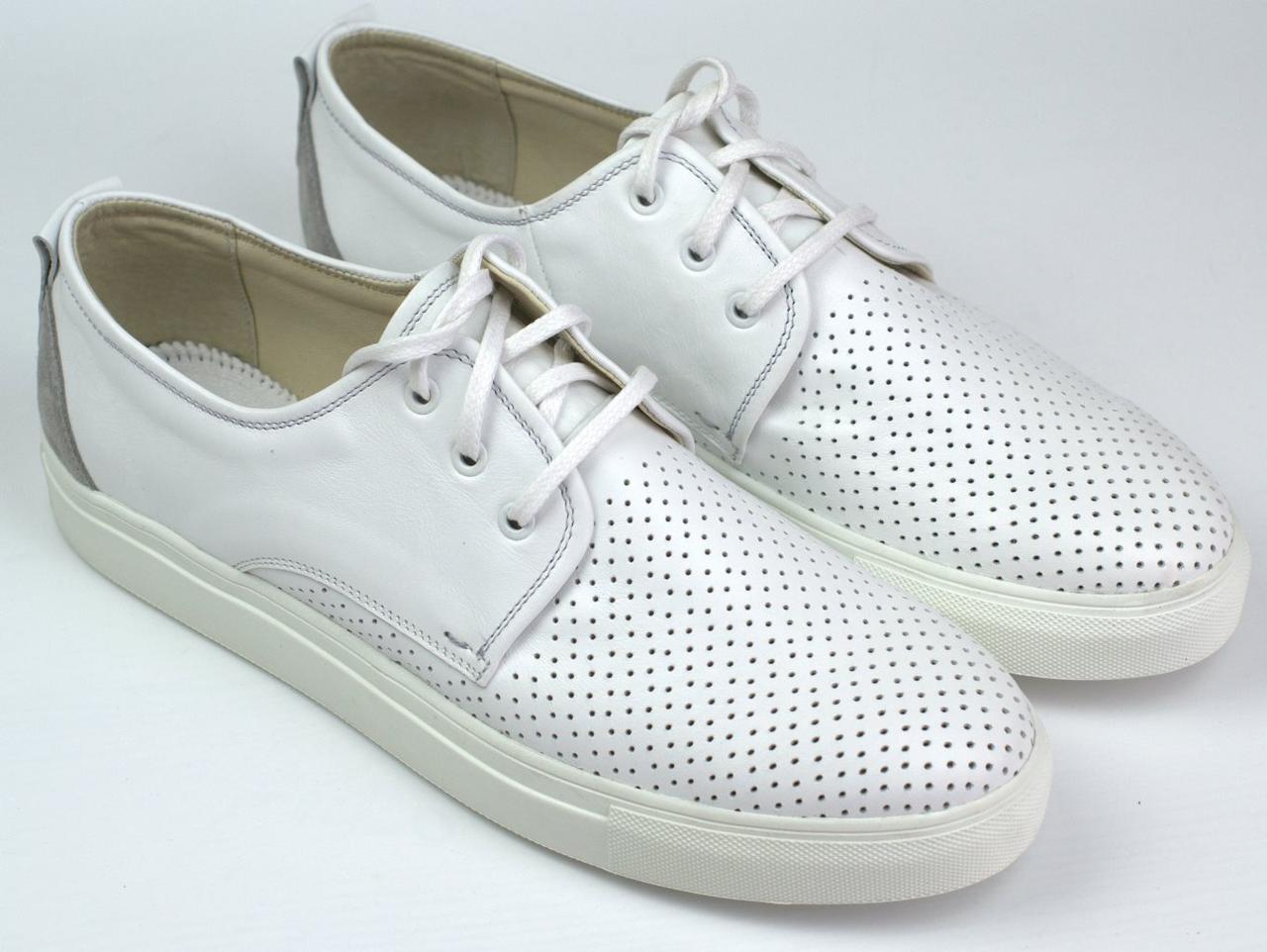 Кроссовки кеды повседневные белые мужские слипоны кожаные с перфорацией летняя обувь Rosso Avangard SlipWhite