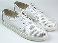Кроссовки белые мужские слипоны кожаные с перфорацией летняя обувь комфорт Rosso Avangard Slip White, фото 1