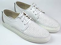 Кроссовки кеды повседневные белые мужские слипоны кожаные с перфорацией летняя обувь Rosso Avangard SlipWhite, фото 1