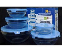 Набор стеклянных емкостей с крышками Cooking Bowl 5 шт № G09-2