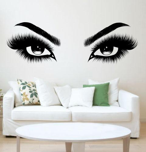 Наклейка на стіну Красиві очі (око, стрілки, назва, наклейка в кабінет краси)