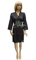 Шелковый халат с кружевом премиум класса Nusa NS-15050 черный