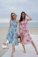 Женское летнее цветочное платье с имитацией запаха. разные цвета., фото 1