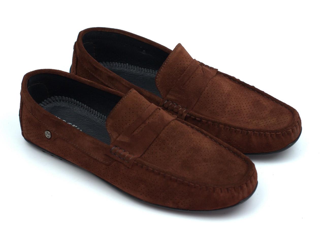 Коричневые мужские мокасины замшевые с перфорацией летняя обувь Rosso Avangard ETHEREAL CINNAMON Vel Perf